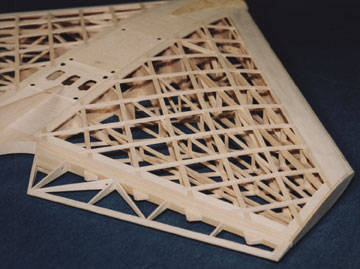 A set of spars and a lattice skin create the airfoil shape for Thwing!'s wing.