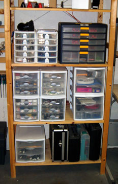 RubberMaid Cabinets used to store a variety of modeling supplies. & Airfield Models - Model Shop Storage